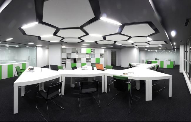 Plafond en flèche Optima à l'intérieur du bureau