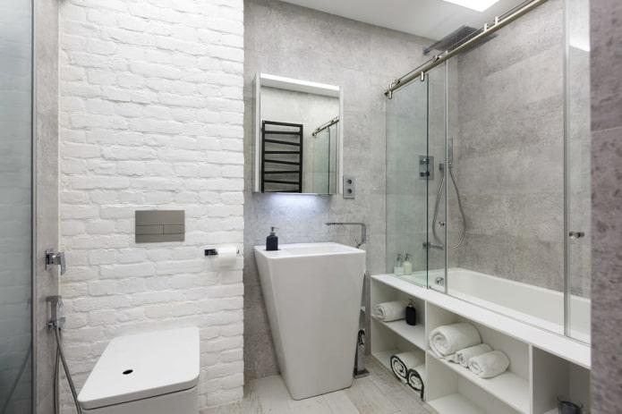 salle de bain dans les tons blancs et gris