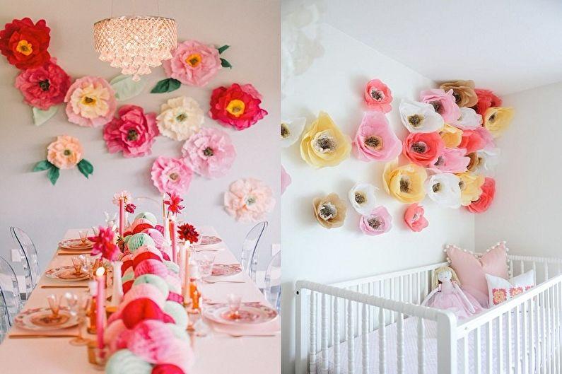 Fleurs en papier bricolage - Idées d'application