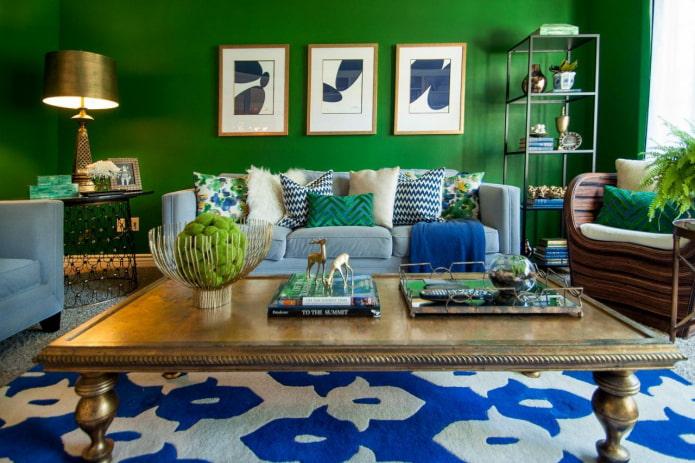 salon bleu-vert lumineux
