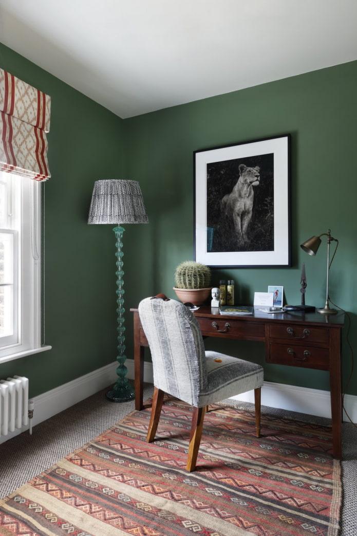 murs verts mats au bureau