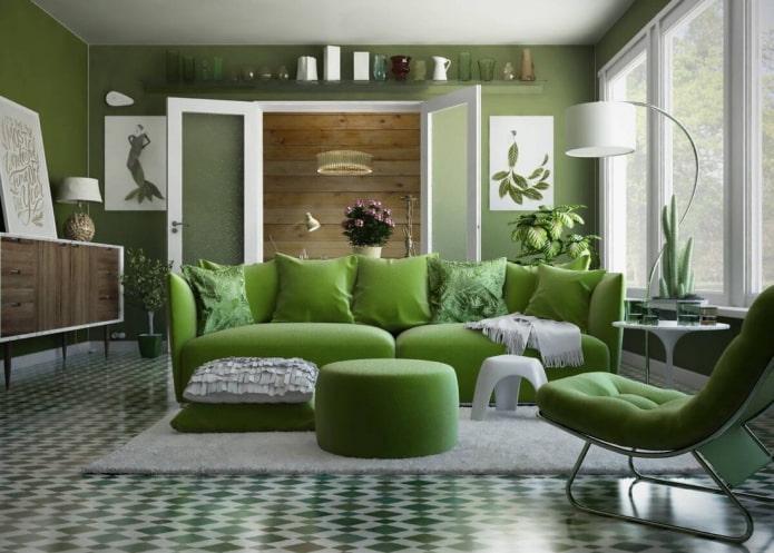 chambre dans les tons verts