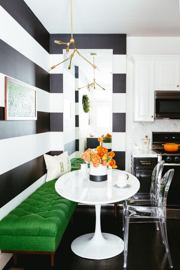 cuisine noir et blanc avec vert