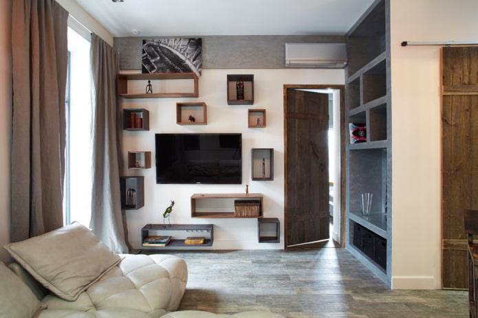 étagères murales carrées à l'intérieur