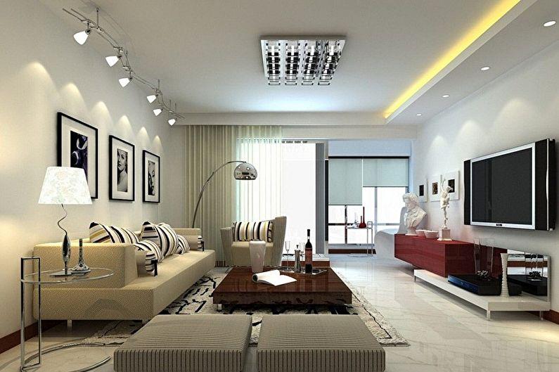 Conception de la salle dans l'appartement - Mobilier et éclairage