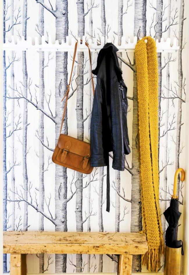 Papier peint photo dans le couloir avec des crochets intéressants pour les vêtements d'extérieur