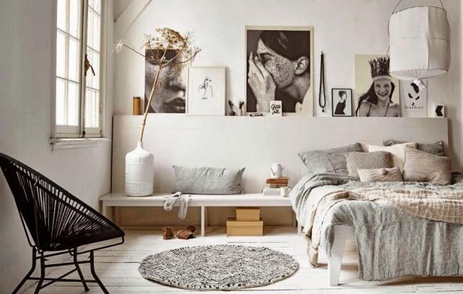 Chambre scandinave aux couleurs pastel