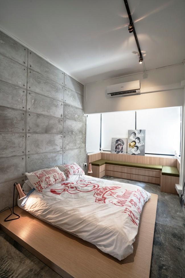 Chambre minimaliste avec motif japonais