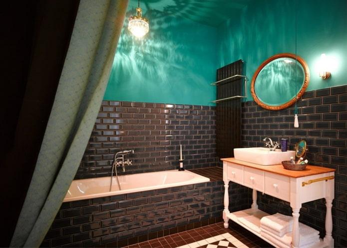 salle de bain noir et turquoise