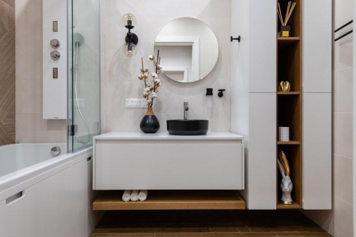 meubles suspendus dans la salle de bain
