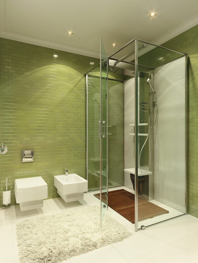 Carreaux de salle de bain de couleur pistache naturelle, dont l'autosuffisance est soulignée par l'absence totale d'accents de couleur inutiles