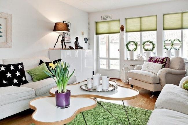 Peu d'accents dans l'intérieur scandinave: des volets roulants aux fenêtres et un tapis couleur pistache