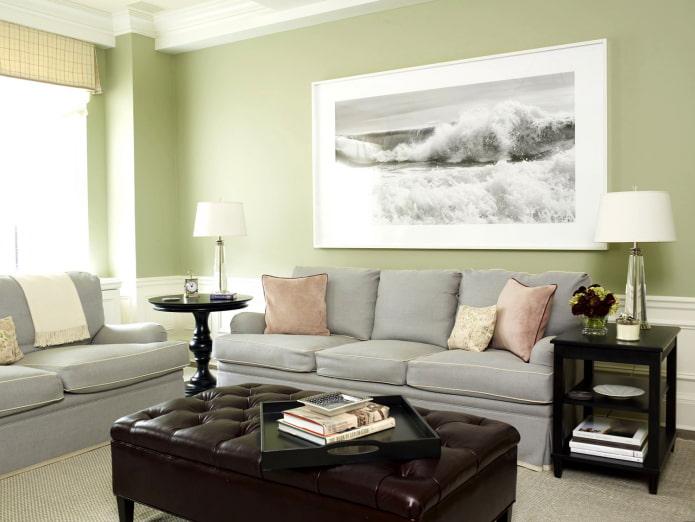 canapé gris et murs pistache