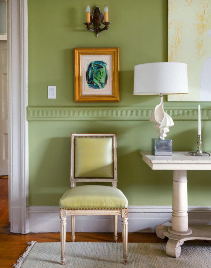 murs peints en vert