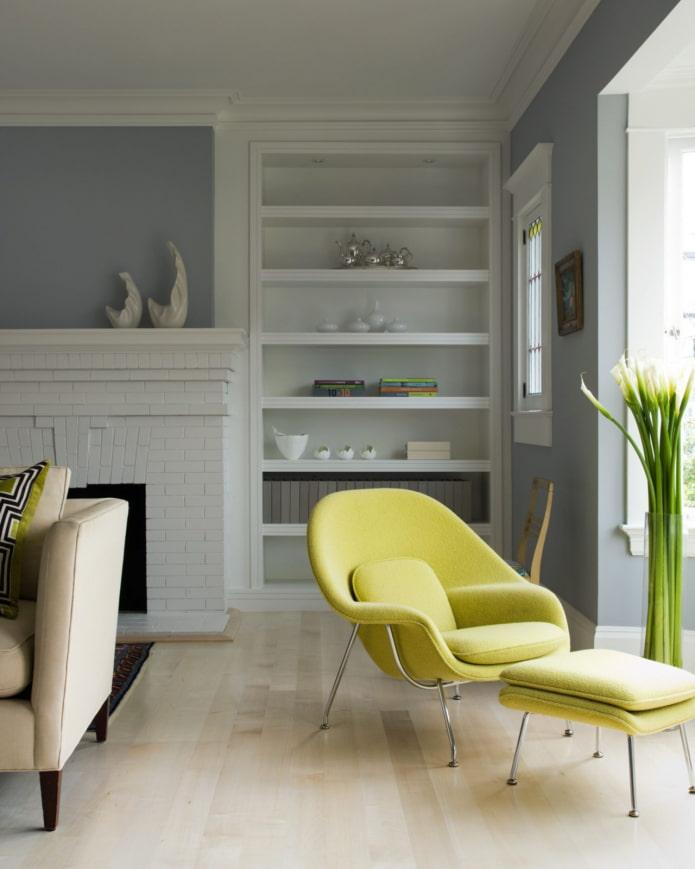 fauteuil coloré avec pouf