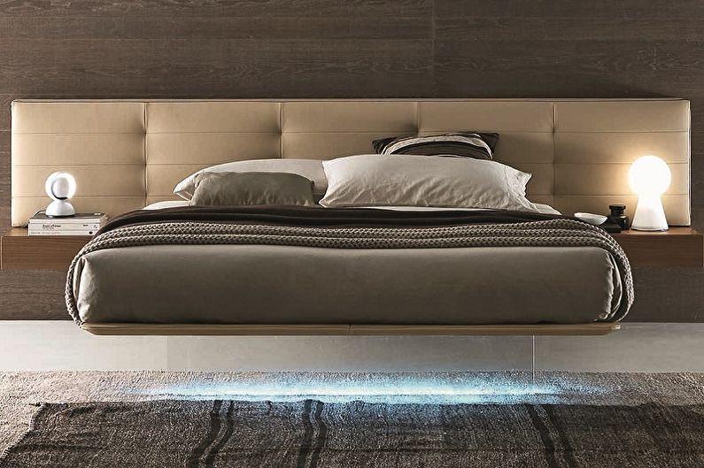 Lit flottant avec tête de lit moelleuse