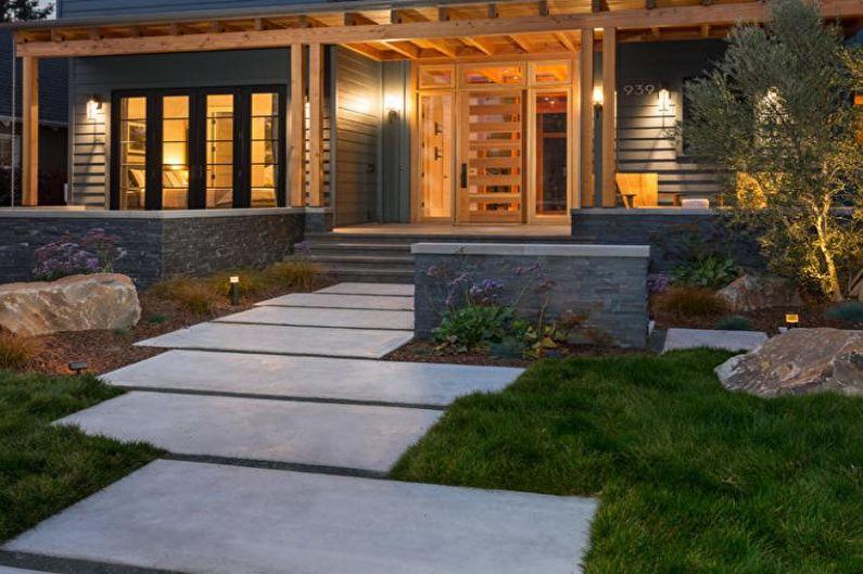 Décoration de porche en béton pour une maison privée - photo