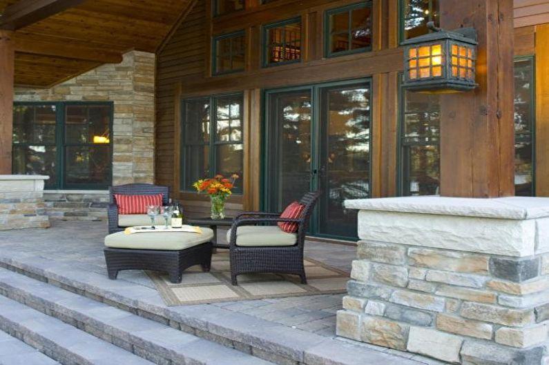 Décoration de porche en pierre pour une maison privée - photo