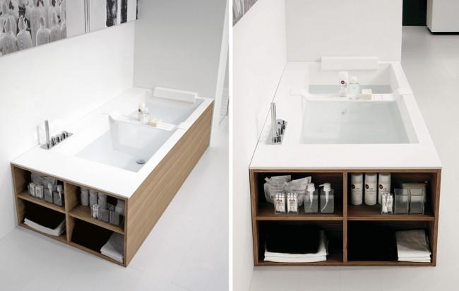 Écran sourd sous la baignoire avec un côté ouvert