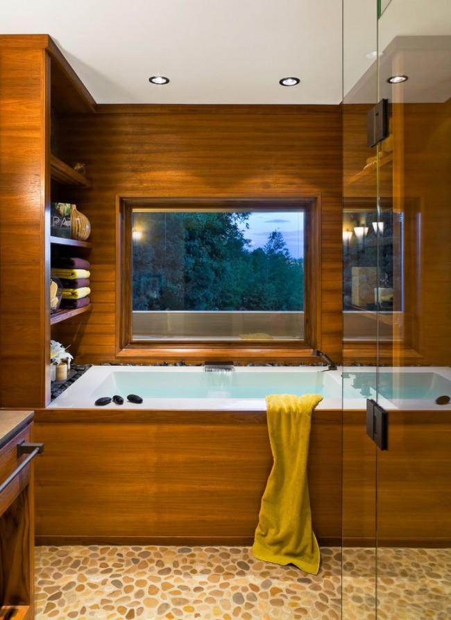 Revêtement de baignoire en bois naturel
