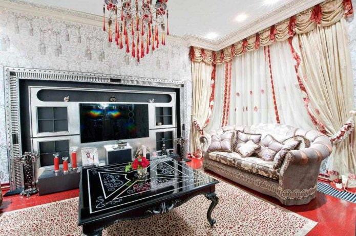 Rideaux avec lambrequin pour le salon dans un style classique
