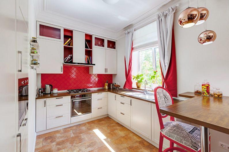 Cuisine rouge à Khrouchtchev - design d'intérieur
