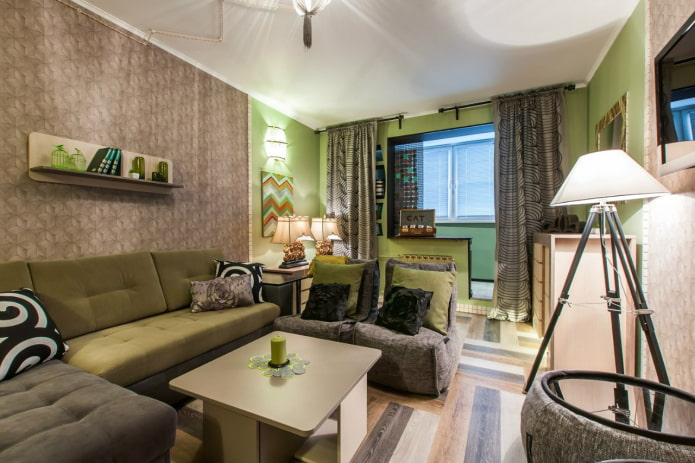 aire de loisirs dans le salon de l'appartement Khrouchtchev
