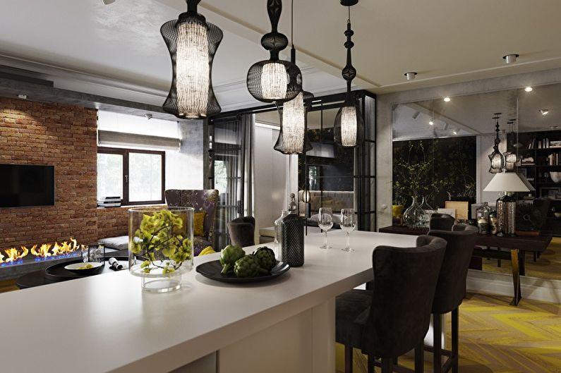 Lustre de cuisine de style loft