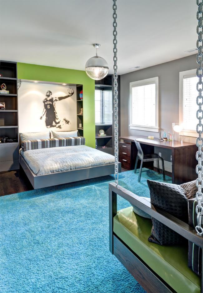 Chambre lumineuse et spacieuse pour adolescent dans des tons vert clair et gris