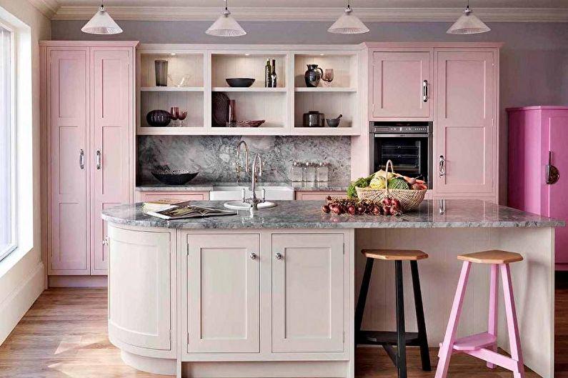 Cuisine rose de style rétro - Design d'intérieur