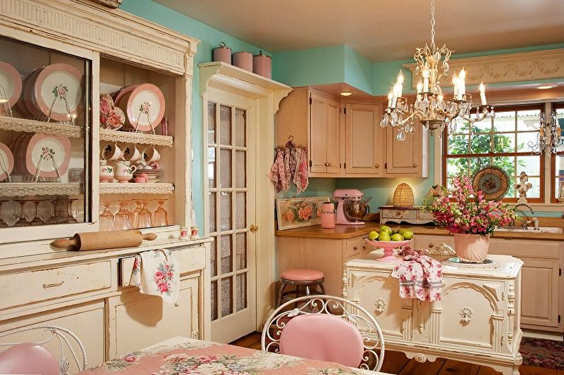 Cuisine rose de style provençal - Design d'intérieur