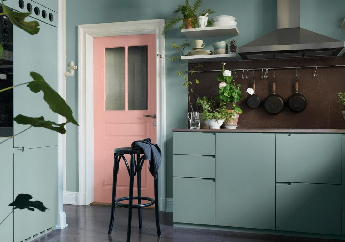 porte de cuisine rose menthe