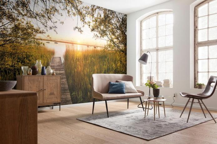 papier peint photo à l'intérieur du salon