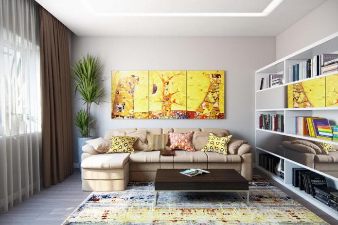 l'image sur le mur au-dessus du canapé à l'intérieur
