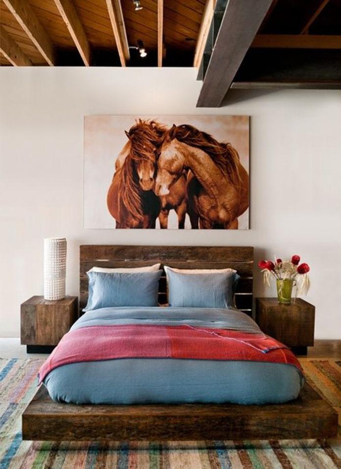 peinture avec l'image de chevaux à l'intérieur