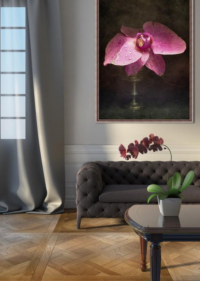 peinture avec une fleur à l'intérieur