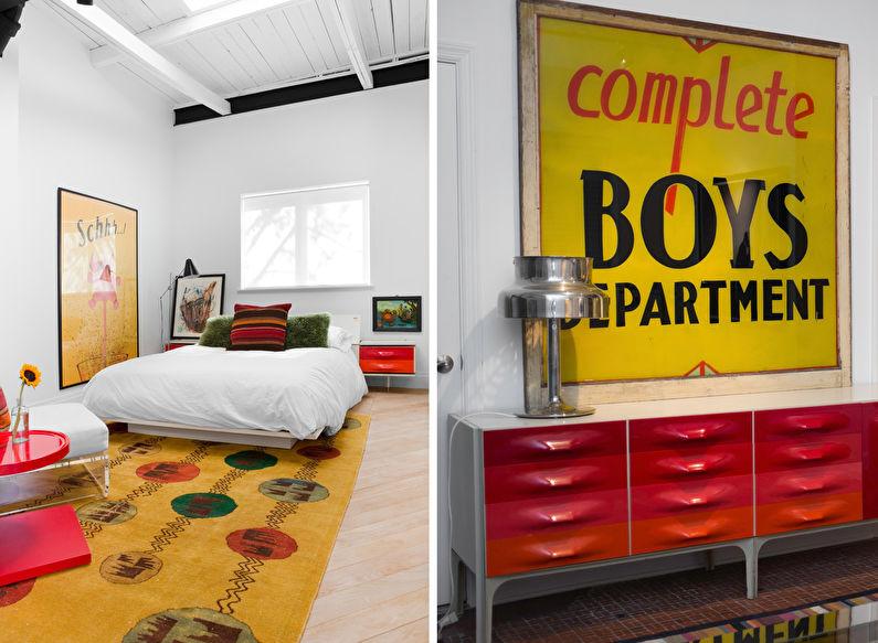 Chambre de style loft jaune - Design d'intérieur