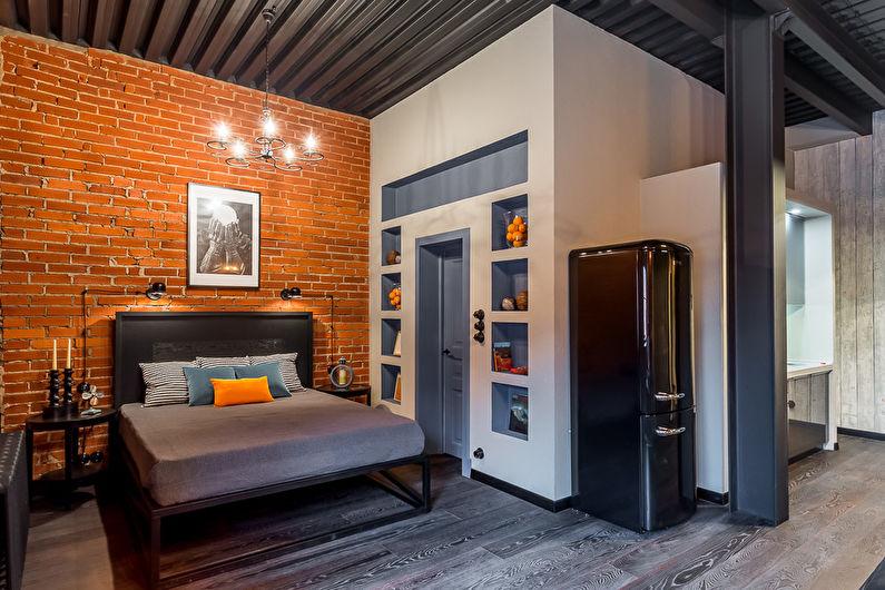 Chambre de style loft gris - Design d'intérieur
