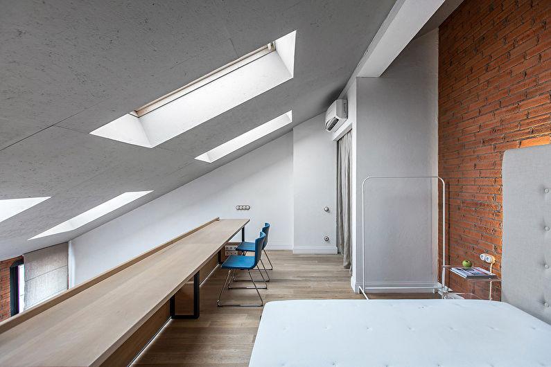 Chambre de style loft blanc - Design d'intérieur