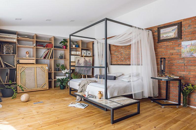 Design de chambre à coucher de style loft
