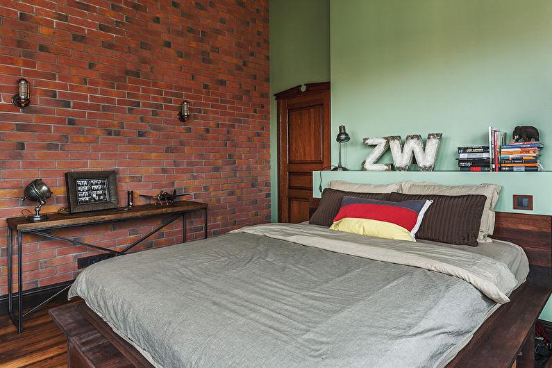Chambre de style loft vert - Design d'intérieur