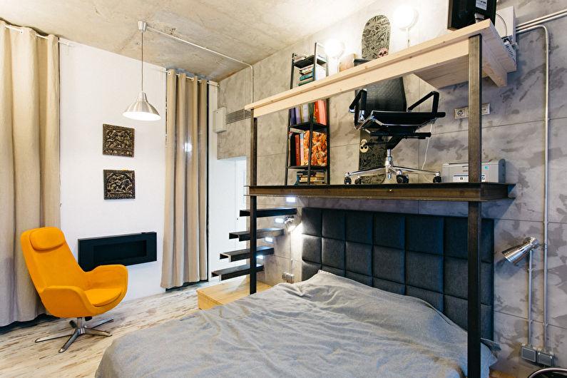 Conception de chambre à coucher de style loft - Meubles