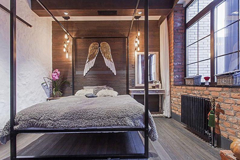 Conception de chambre à coucher de style loft - décorations murales