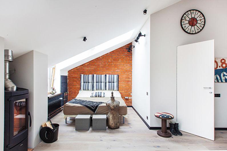 Conception de chambre à coucher de style loft - Finition de plafond