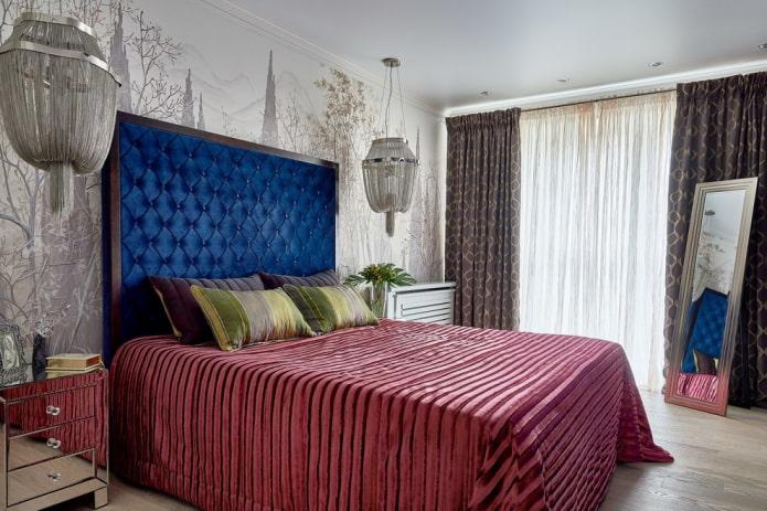 lit avec tête de lit en velours à l'intérieur