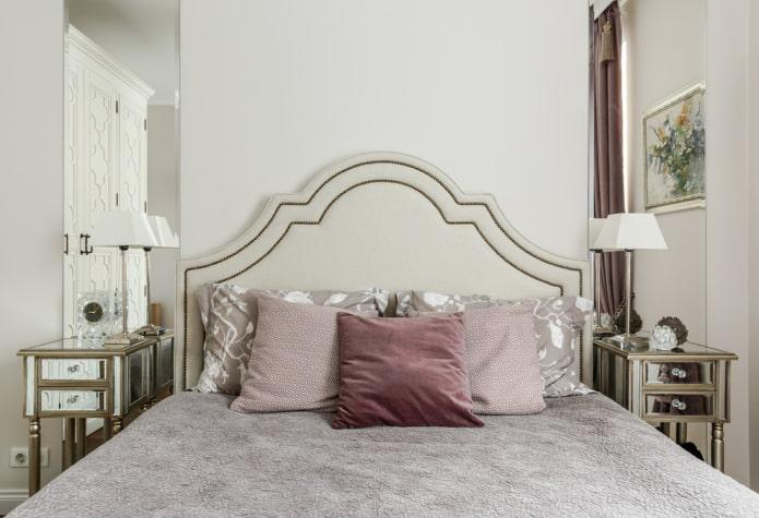 lit avec tête de lit en éco-cuir à l'intérieur