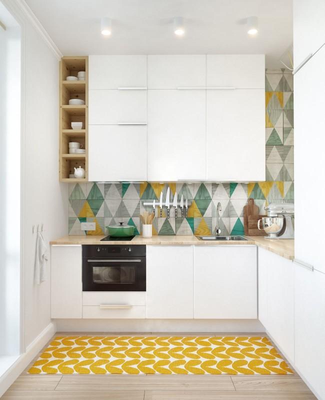 La tâche principale de la réparation dans une telle cuisine est son expansion visuelle.