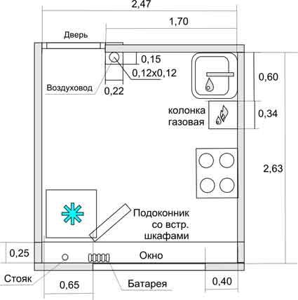 plan de cuisine avec chauffe-eau au gaz