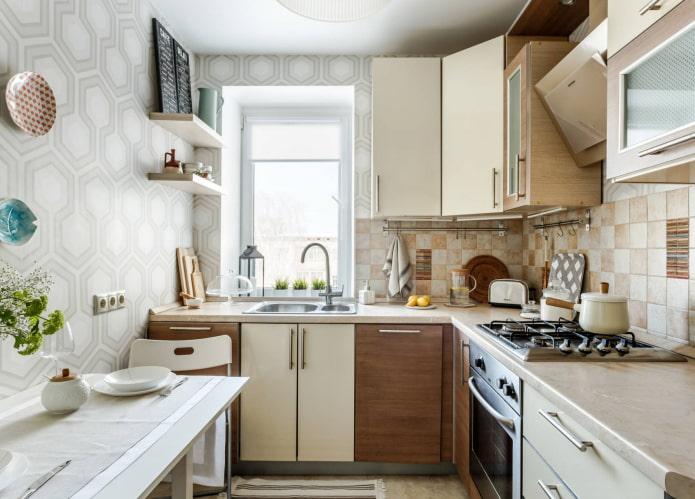 papier peint géométrique dans la cuisine