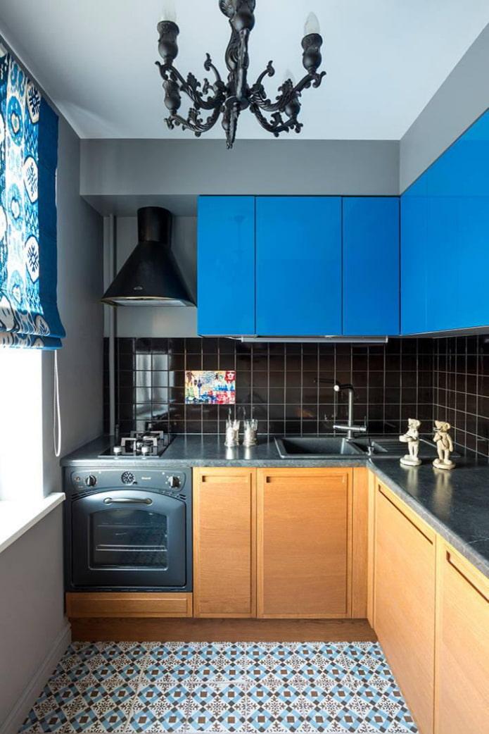 façades de meubles bleus